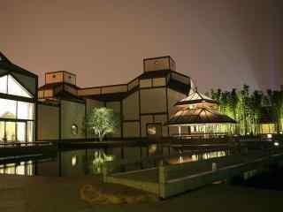 美丽的苏州博物馆夜景桌面壁纸