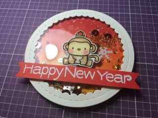 可爱的小猴子图案新年快乐贺卡图片素材