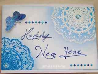 创意蓝色新年贺卡图片