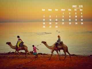 2017年2月日历壁纸之骑骆驼的人