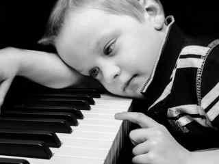 练钢琴的小男孩图片桌面壁纸