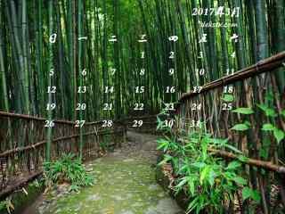 2017年3月日历护眼竹林风景壁纸