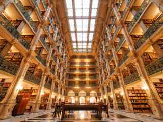 辉煌的图书馆风景
