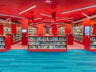 图书馆红色设计桌