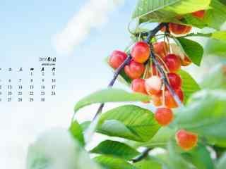 2017年6月日历清新樱桃植物壁纸