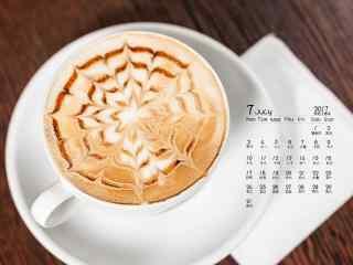 2017年7月日历创意咖啡静物壁纸