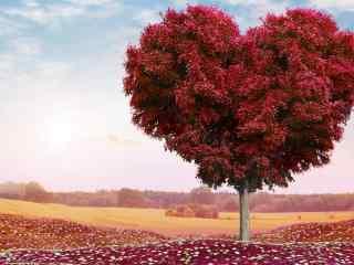 七夕情人节创意爱情树桌面壁纸