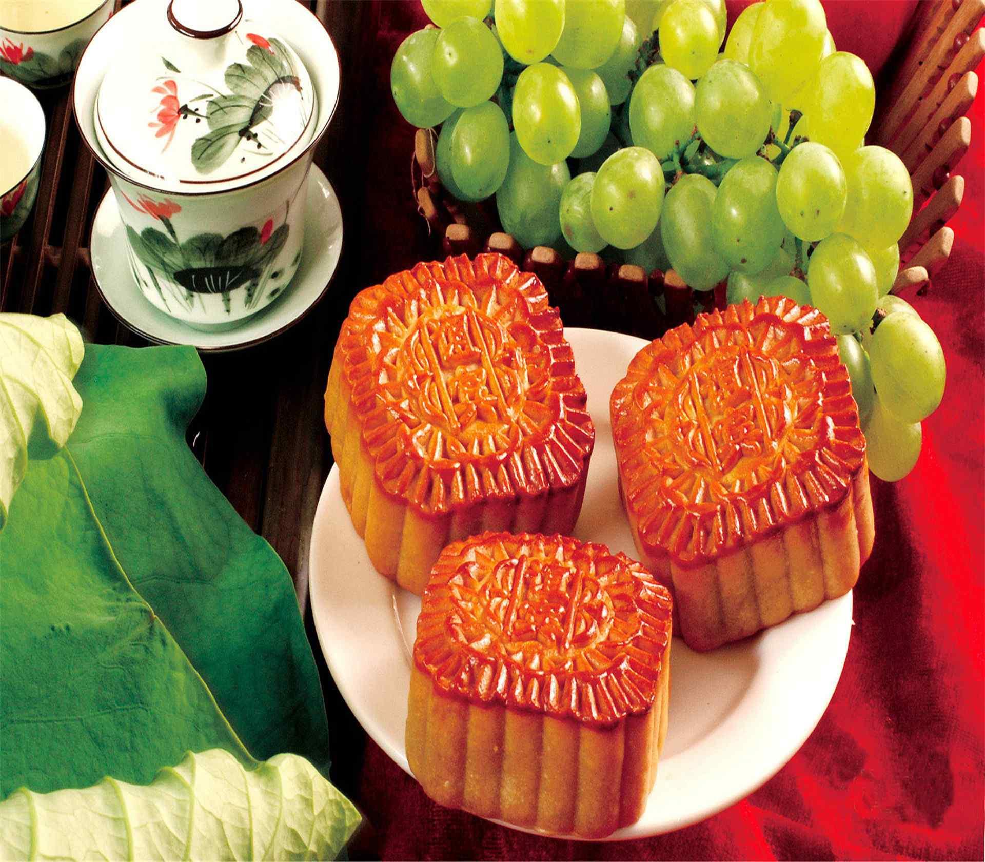 中秋节唯美节日月饼高清电脑桌面壁纸