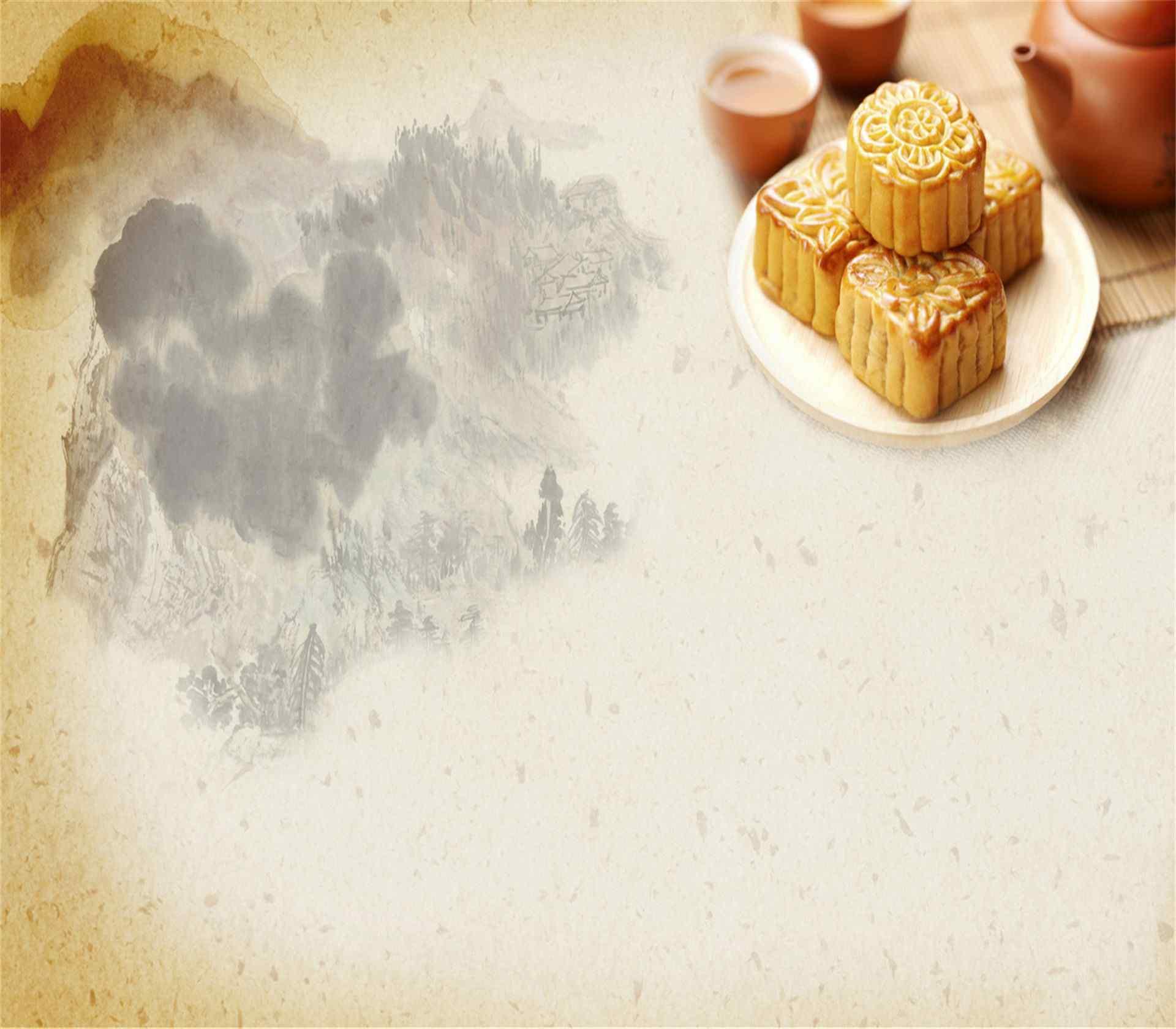 中秋节唯美节日月饼插图高清图片电脑桌面壁纸