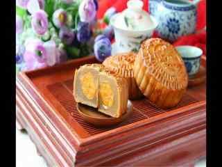 中秋节茶几上的月饼高清图片电脑桌面壁纸