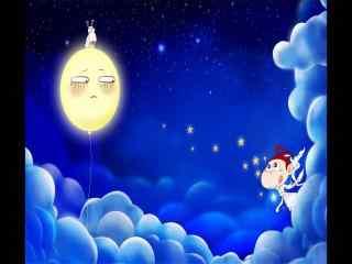中秋节呆萌卡通人物爬上白云赏月图片下载