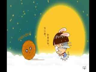 中秋节卡通人物追月饼桌面壁纸下载