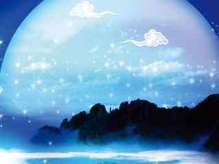 中秋节唯美圆月传统节日电脑桌面壁纸