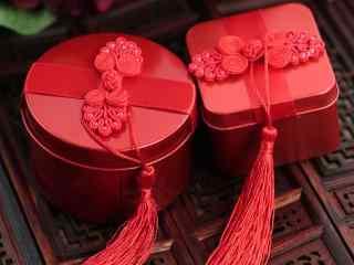 婚礼红色礼盒传统喜糖高清电脑壁纸