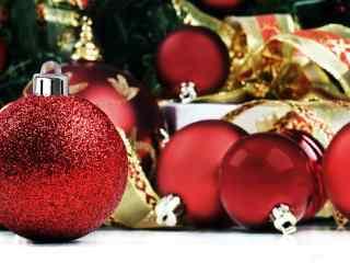 红色圣诞节装饰品图片桌面壁纸