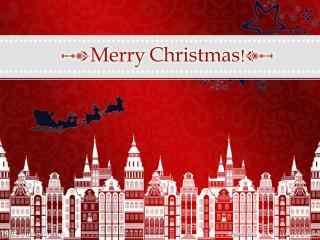 红色喜庆圣诞节图片桌面壁纸