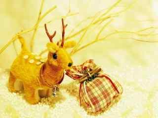 圣诞小礼品之可爱的小麋鹿桌面壁纸