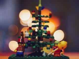 创意乐高圣诞树图片桌面壁纸