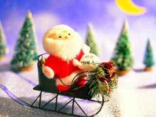 派送礼物的圣诞老人玩偶桌面壁纸