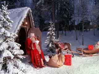 可爱的圣诞老人桌面壁纸