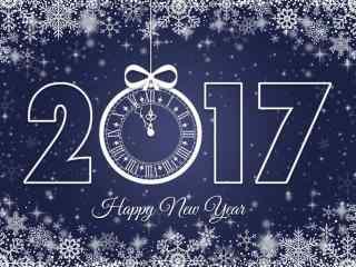 唯美雪花梦幻时钟创意2017年新年图片高清桌面壁纸