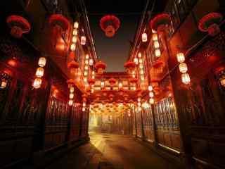 古镇街道的大红灯笼喜庆过节图片