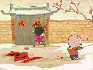 可爱的小破孩新年图片桌面壁纸