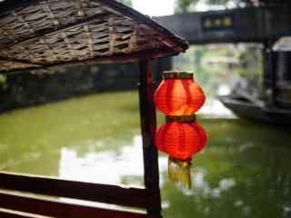 船坞上的小红灯笼喜庆图片