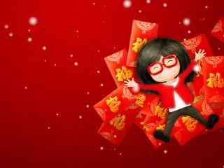 躺在红包上的福娃图片桌面壁纸