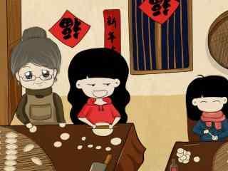 卡通图片过年包饺子图片