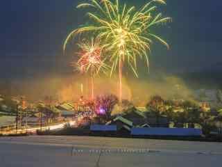 东北雪地灿烂新年烟花图片