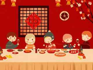 卡通过年图片一家人吃饺子