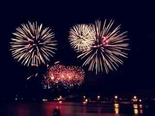 大江边唯美夜色中的绚烂烟花图片