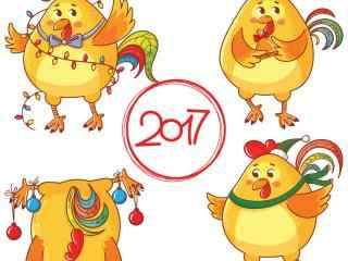 2017新年-创意卡通鸡新年图片