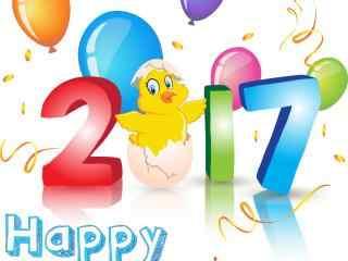 2017新年-可爱卡通鸡新年图片