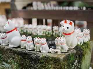 超可爱白色招财猫