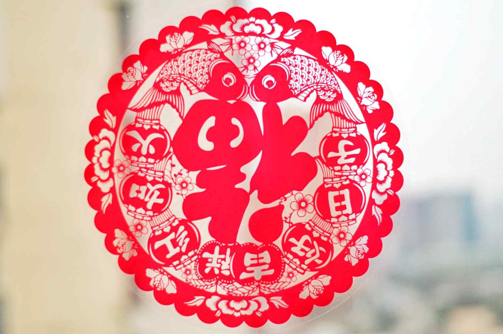 新年福字剪纸图片高清桌面壁纸
