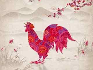自制鸡年特色新年贺卡图片素材