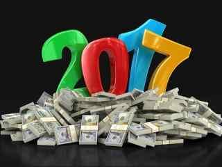 2017创意发财祝福的新年电子贺卡素材