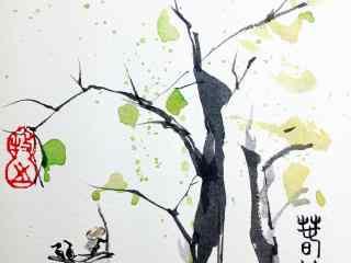 春分节气—水墨画枝叶抽新条桌面壁纸