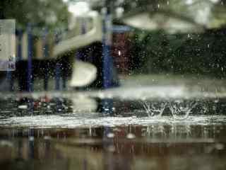 唯美立秋落雨桌面壁纸