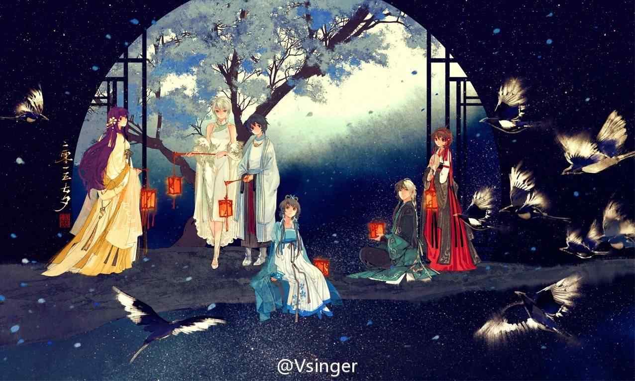 古风七夕节手绘壁纸