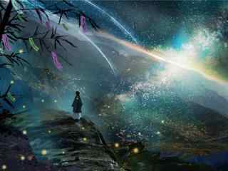 唯美七夕节手绘银河壁纸