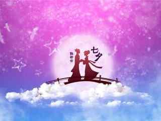 七夕节牛郎织女手绘桌面壁纸