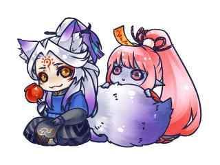 阴阳师手游游戏壁纸之Q版妖狐与跳跳妹妹