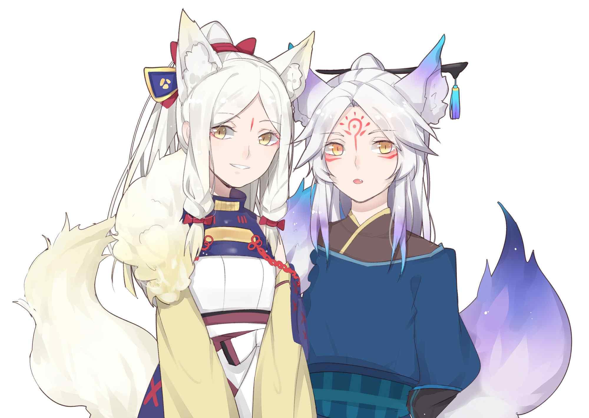 阴阳师游戏壁纸之美美哒白狼与妖狐
