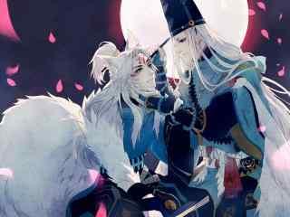阴阳师游戏壁纸之妖狐与安培晴明