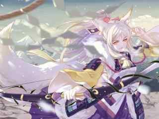 阴阳师式神之美丽的白狼桌面壁纸