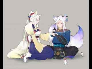 阴阳师白狼与妖狐可爱桌面壁纸