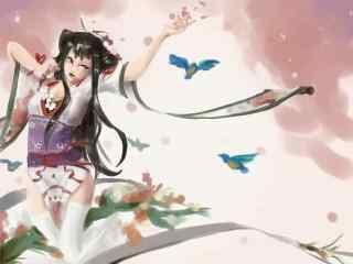 阴阳师花鸟卷水墨画桌面壁纸